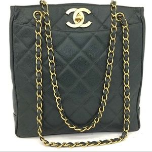 CHANEL Quilted Matelasse CC Logo Caviar Skin Chain
